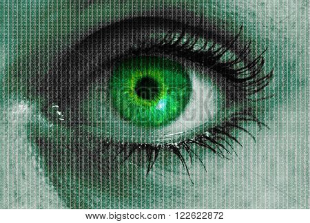 futuristic eye with matrix texture looking at viewer concept.
