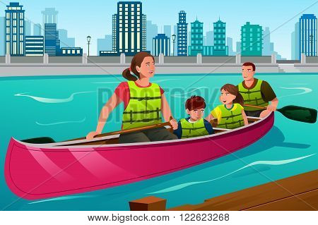 A vector illustration of happy family canoeing together on the lake