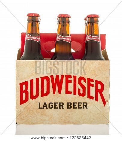 Winneconne WI - 12 March 2016: A six pack of Budweiser lager beer with a different design than the current.