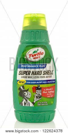 Winneconne WI - 19 Feb 2016: Bottle of Turtle Wax super hard shell liquid wax.
