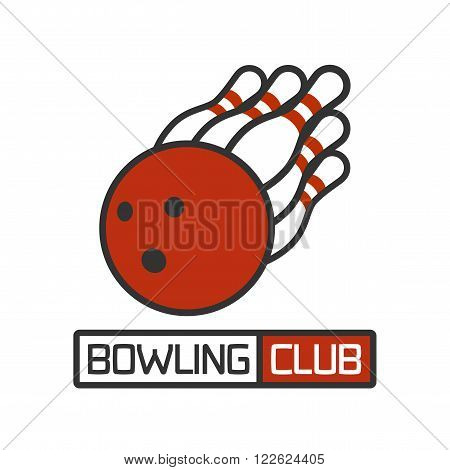 Vector bowling logotype. Template for bowling club, tournament, challenge