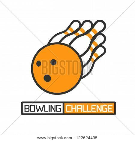 Vector bowling logotype. Design element for bowling related banner, advertising materials