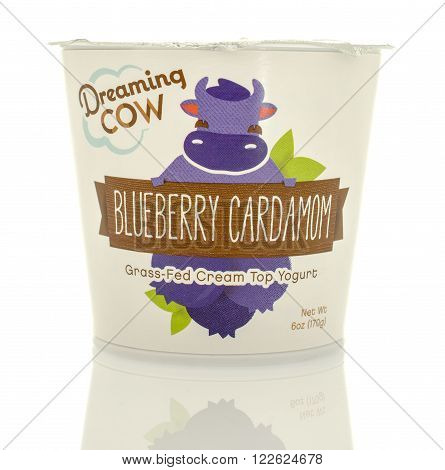 Winneconne WI - 5 March 2016: A container of Dreaming Cow yogurt in blueberry flavor.