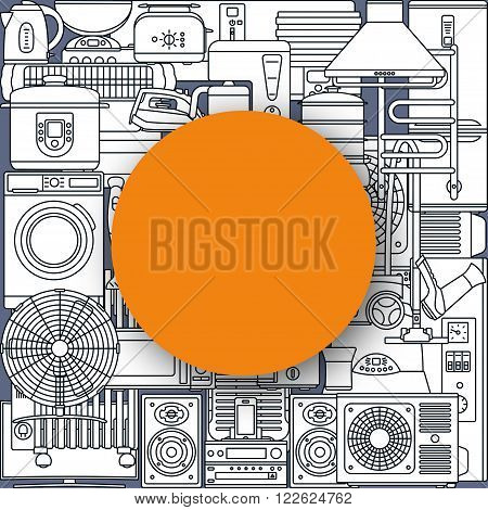 Background made of home appliances and round text place. Oven and toaster, fridge and freezer, stove and dishwasher. Contour icons. Info graphic elements. Modern material design. Vector illustration