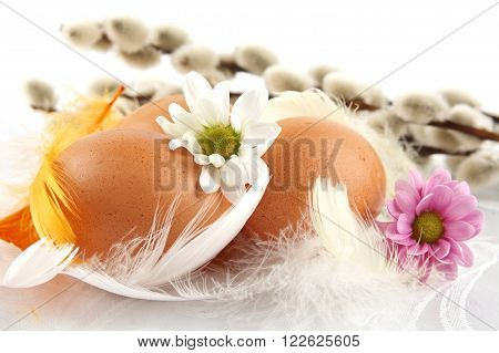 Group Easter Chicken Eggs White Tablecloth With Feathers,flowers