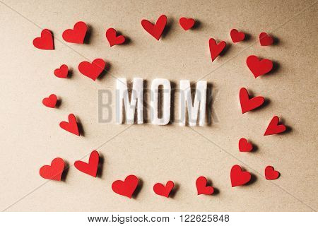 Mom Text With Small Red Hearts