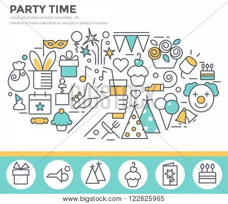 Party time concept illustration, thin line flat design