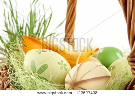 Closeup View Colorful Easter Eggs,catkins In Basket