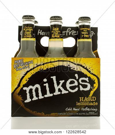 Winneconne WI - 2 March 2016: A six pack of Mikes hard lemonade.