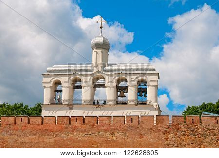 Russia. Veliky Novgorod. Belfry of The St. Sophia Cathedral (Cathedral of Holy Wisdom) in The Kremlin
