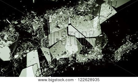 Pieces Of Broken Or Demolished Glass On Black