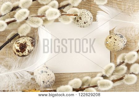 Blank Card Easter Greetings Wooden Plank With Eggs,catkins,white Feathers