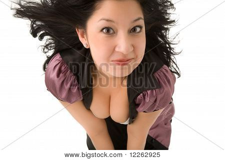 Funny Girl Looking To The Camera Isolated On White