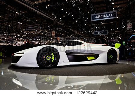 Geneva Switzerland - March 1, 2016: 2016 Pininfarina H2 Speed Concept presented on the 86th Geneva Motor Show in the PalExpo