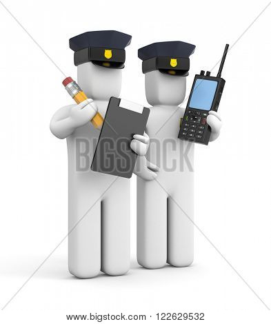 Two police officer one with clipboard and another with transmitter