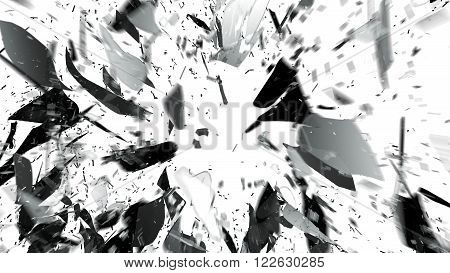 Shattered Glass On White With Motion Blur