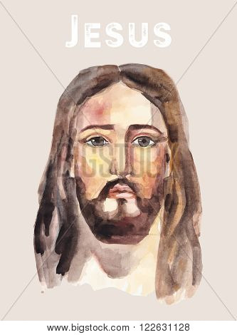 Hand drawn face of Jesus Christ, low poly watercolor vector illustration. Easter. Ressurection.