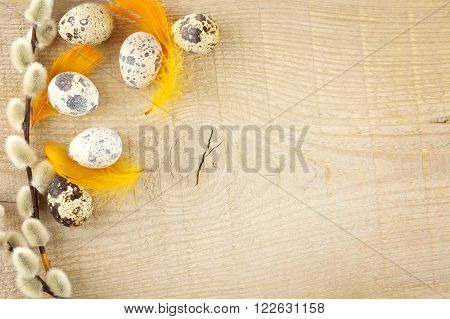Blank Wooden Plank With Easter Decoration,quail Eggs And Catkins