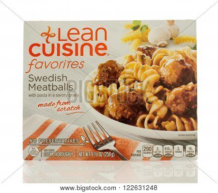 Winneconne WI - 2 March 2016: A box of Lean Cuisine swedish meatballs