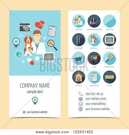 Flyer brochure for vet clinic. Pet care. Set of promotional products. Flat design. Vector illustration