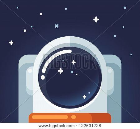 Astronaut in space flat cartoon vector illustration.