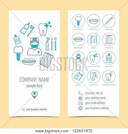 Set of flyer brochure for dental clinic. Dental care. Set of promotional products. Flat design. Vector illustration