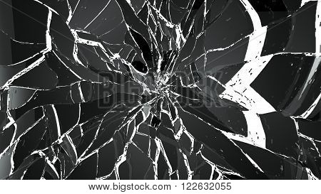 Pieces Of Shattered Glass Isolated On White