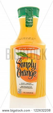 Winneconne WI - 26 Feb 2016: Container of Simply Orange; orange juice