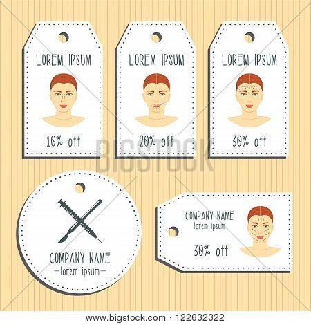Face plastic surgery discount gift tags. Ready to use. Flat design. Vector illustration