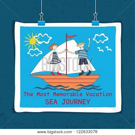 Vacation sea Journey. Cute style curious people. Sheet hanging on clamps. Textured background. Template for advertising promotion sailing club, travel company, poster. Vector Illustration.
