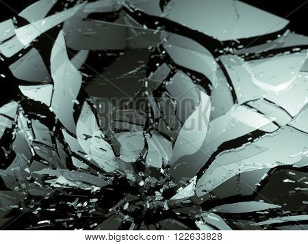 Destructed Or Shattered Glass Pieces On Black Shallow Dof