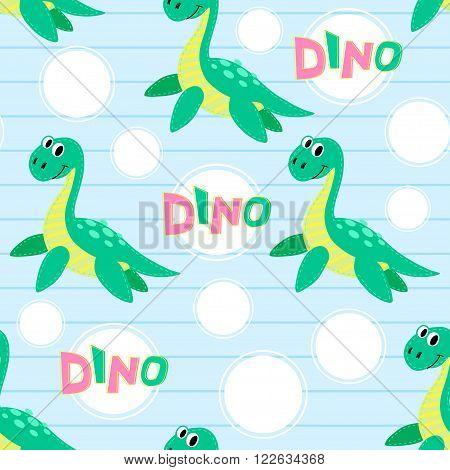Water dinosaur vector seamless pattern. Dinosaur vector background