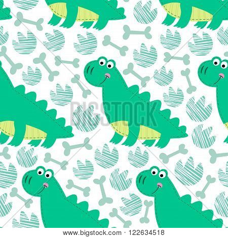 Dinosaur on striped background vector seamless pattern. Dinosaur