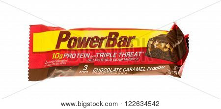 Winneconne WI - 15 May 2015: Powerbar energy bar in chocolate caramel fusion flavor.