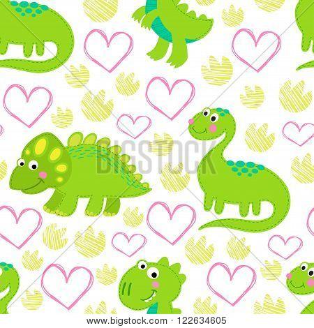 Dinosaur Rex vector seamless pattern.  Dinosaur vector background