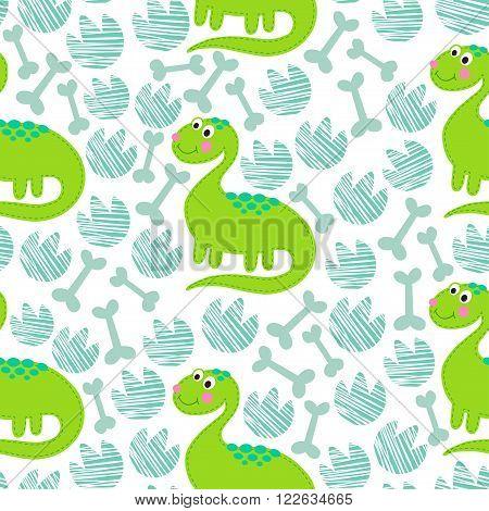 Green dinosaur vector seamless pattern.  Dinosaur vector background