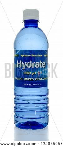 Winneconne WI - 5 March 2016: A bottle of hydrate water