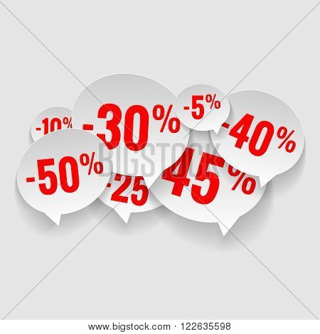 Set of stickers cut from paper. Discount price tags. Vector.
