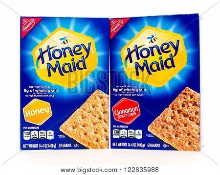 Winneconni WI - 23 June 2015: Boxes of Honey made graham cracker sin honey and cinnamon flavor