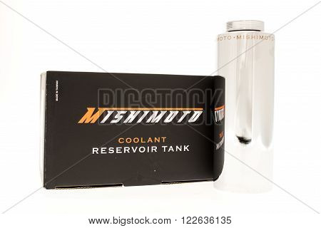 Winneconni WI - 7 June 2015: Mishimoto coolant reservoir tank with box.