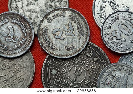 Coins of Nepal. Nepalese 25 paisa coin.
