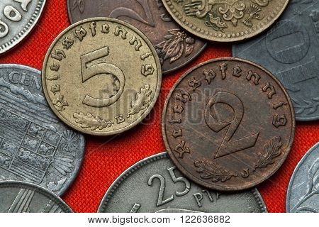Coins of Nazi Germany. German Reichspfennig coins (1938).