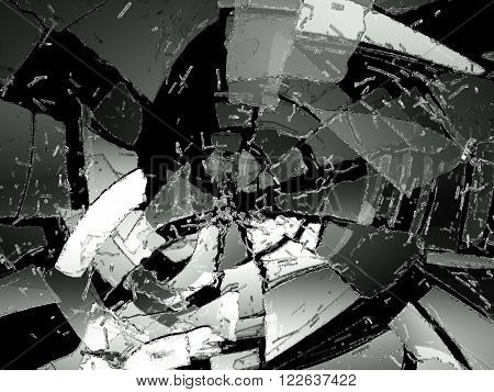 Pieces Of Destructed Glass On Black