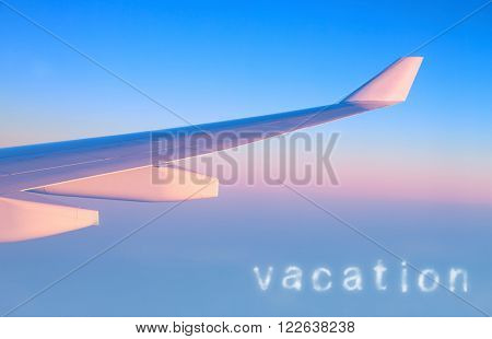 Plane in the air, wing of a great aeroplane over blue pink sky background, business trip, travel and vacation concept