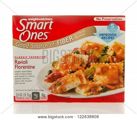 Winneconne WI - 2 March 2016: Box of Smart ones ravioli florentine meal by weightwatchers.