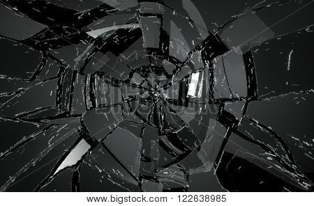 Shattered Or Damaged Glass Pieces On Black