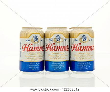 Winneconne WI - 15 March 2016: A six pack of Ham's beer in cans.