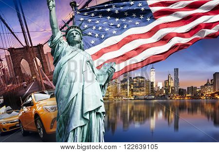 new york cityscape tourism concept and symbol of USA