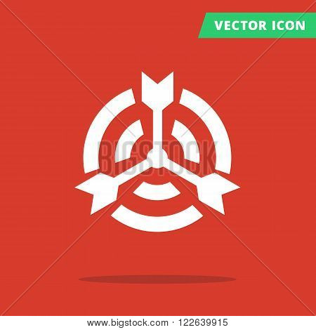 Color target icon, pictograph of target with many arrows shots in center, icon flat isolated target, darts hit the center of target red color background white silhouette sign