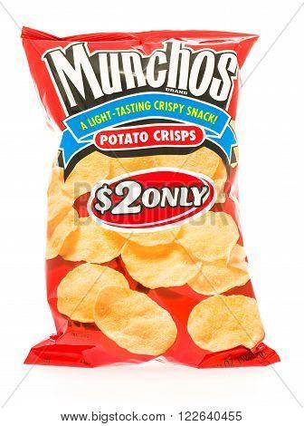 Winneconni WI - 23 June 2015: Bag of Munchos potato crisps